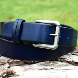 Christopher Piero Blue Navy Leather Belt Nickel Plated Roller Buckle
