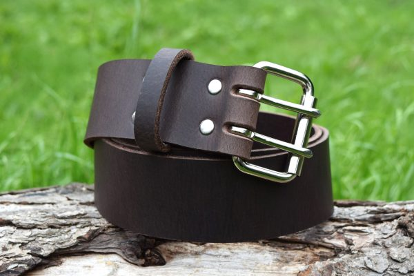 Christopher Piero Brown Leather Belt Nickel Plated Roller Buckle