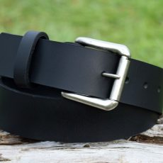 Christopher Piero Black Leather Belt Antique Nickel Roller Buckle