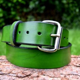 Christopher Piero Green Leather Belt Nickel Plated Roller Buckle