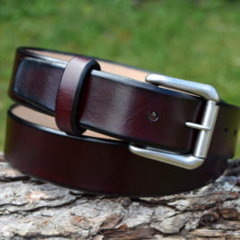 Christopher Piero Oxblood Leather Belt Antique Nickel Roller Buckle
