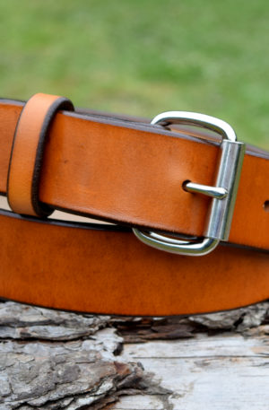 Christopher Piero Tan Leather Belt Nickel Plated Roller Buckle