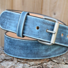 Christopher Piero Jeans Blue Leather Belt Nickel Plated Antique Brass Antique Nickel Roller Buckle