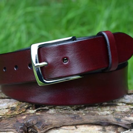 Christopher Piero Oxblood Leather Belt Solid Brass Nickel Plated Buckle