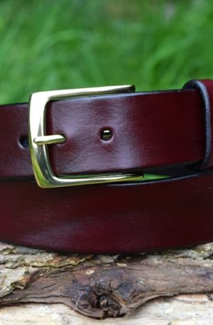 Christopher Piero Oxblood Leather Belt Solid Brass Buckle