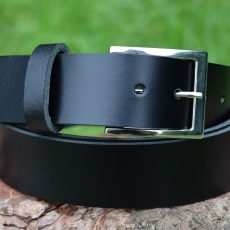 Genuine Leather Black Belt Nickel Plated Buckle