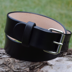 Christopher Piero Black Leather Belt Nickel Plated Roller Buckle