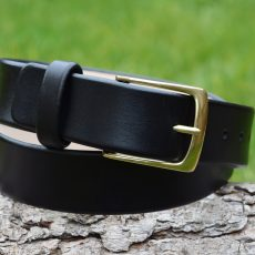 Christopher Piero Black Leather Belt Solid Brass Buckle