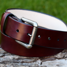 Christopher Piero Antique Oxblood Leather Belt Antique Nickel Roller Buckle