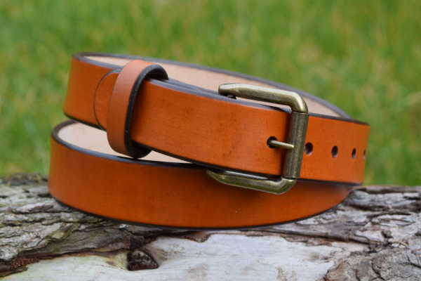 Christopher Piero Tan Leather Belt Antique Brass Roller Buckle