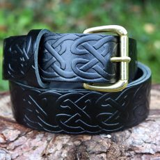 Celtic Black Leather Belt Solid Brass Roller Buckle