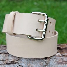 Christopher Piero Handmade Veg Tan Leather Belt Double Prong Nickel Plated Roller Buckle